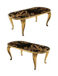 exceptional pair of 23 carats gilt wood oval tables, france circa 1950. by maison jansen