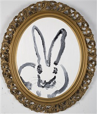 white bunny (round) by hunt slonem