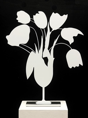 white tulips and vase, april 4, 2014 by donald sultan