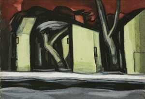 study for 'a situation in yellow' by oscar florianus bluemner