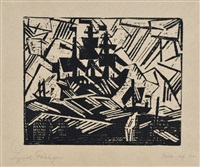 bark at sea by lyonel feininger