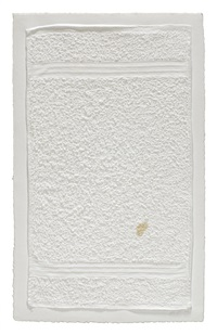 three stripe hand towel (with stain) by analia saban
