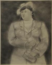 donna con cappello, guanto e borsetta by fernando botero