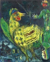 le coq sur fond noir by marc chagall