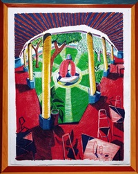 views of hotel well iii, from the moving focus series by david hockney