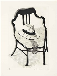 hat on chair, from the geldzahler portfolio by david hockney