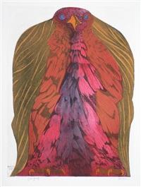 colorful raptor by leonard baskin