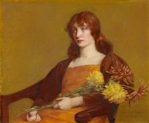 woman holding flowers by louise howland king cox