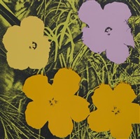 flowers (orange yellow pink) by andy warhol