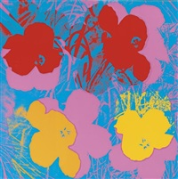 flowers (blue bkgd) by andy warhol
