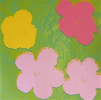 flowers (green bkgd. pink yellow) by andy warhol