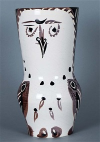 maroon/black wood-owl by pablo picasso