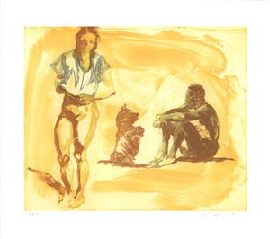 beach scene with poodle by eric fischl