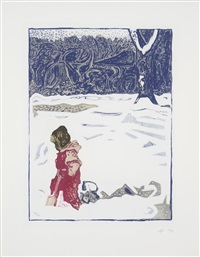girl in snow with tree by billy childish
