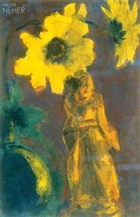 chinafigur unter gelben blüten by emil nolde