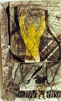jim rose snake with yellow figure by ray johnson