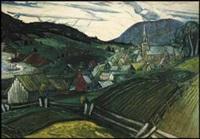 lot # 124: paysage de gaspésie, l'anse-aux-gascons by marc-aurèle fortin