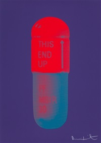 the cure - violet/electric red/powder blue by damien hirst