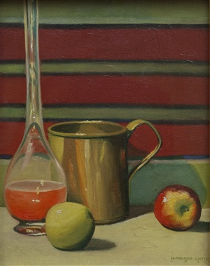brass mug with apples by clarence holbrook carter
