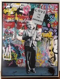 love is the answer (silkscreen on canvas)<br />einstein by mr. brainwash