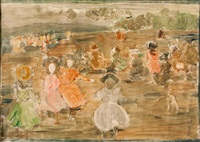 figures by the shore by maurice brazil prendergast