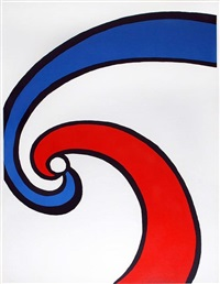 red and blue swirl (wave) by alexander calder