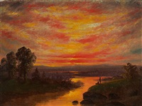sunset with figures by jervis mcentee