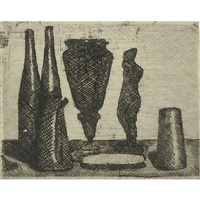 still life with small statue by giorgio morandi