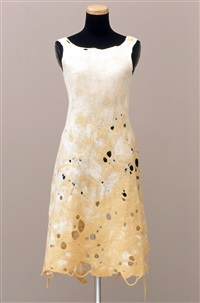 a-z fiber form: yellow and white dress by andrea zittel
