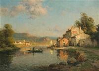 riviere du midi avec barques, encadré de maisons by antoine bouvard