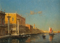 the doges palace and the riva degli schiavoni, venice by antoine bouvard