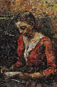 pictures of magazine 2: girl reading, after jean baptiste camille corot by vik muniz