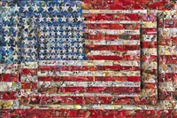 three flags, after jasper johns (pictures of magazines 2) by vik muniz
