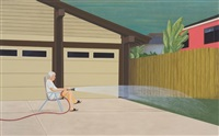 man waters lawn, suburbia by ed templeton