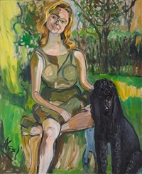 carol with a dog by alice neel