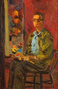 self portrait with canvas in background by william goodridge roberts