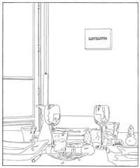 still life (candle) (traced) by louise lawler