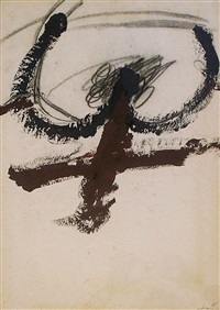black arcs above cross by antoni tàpies
