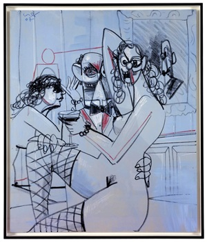 rodrigo at the bar by george condo