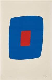 dark blue with red by ellsworth kelly