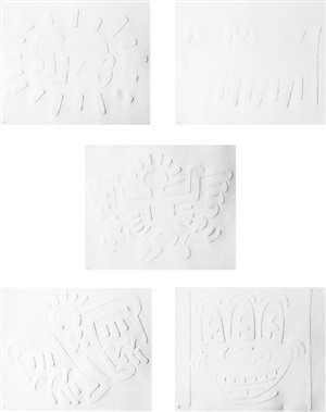 white icons by keith haring