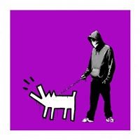 choose your weapon bright-purple by banksy