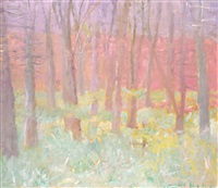 grove with undergrowth by wolf kahn