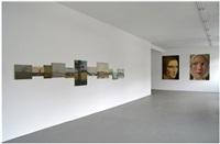 installation view 2014 (11 landschaftsgemälde mit horizont, frauenportraits, gross) by hans peter feldmann