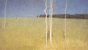 across the meadow and blue sky by david grossmann