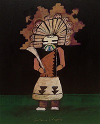 kachina with hunting stick by fritz scholder