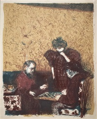 la partie de dames (the game of checkers) by edouard vuillard