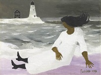 woman and lighthouse by mary fedden
