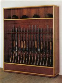 untitled (guns and hats) by haim steinbach