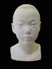 bust of a boy by li hongbo